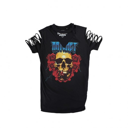 <span style='color: red;'>Out of order</span> Ratchet Longline Black Roses Choker T-Shirt SS17