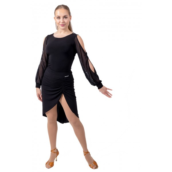 Top with long, see-through sleeves