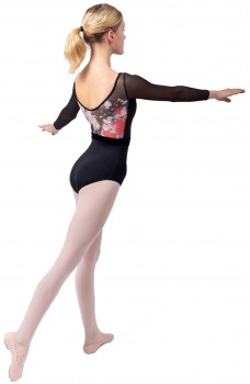 Sansha Floral, a leotard with long sleeves