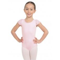 Capezio Glitter Rose Flutter, short sleeve leotard for girls