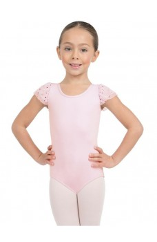 Capezio Glitter Rose Flutter, short sleeve leotard for girls