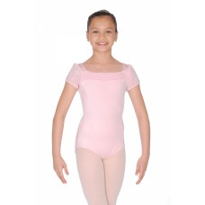 Capezio puff sleeve leotard with glittery shoulders