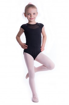 Mirella Flower burst, children's leotard with short sleeves