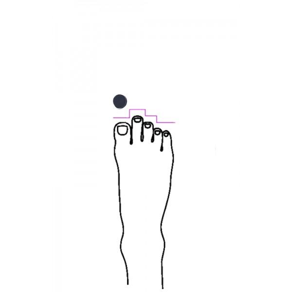 Pointe shoe toe pad for Greek type feet